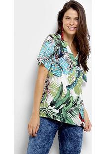 Camisa Manga Curta Mi Estampa Tropical Feminina - Feminino-Branco