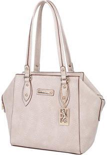Bolsa Texturizada Com Bag Charm - Bege Claro - 27X27Fellipe Krein