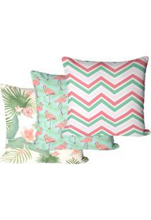 Kit Com 3 Capas Para Almofadas Floral Flamingo 45X45Cm