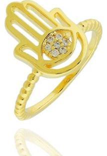 Anel Mão De Horus Zircônias Semi Joia - Feminino-Dourado
