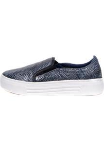 Sneaker Balaia Mod144 Em Couro Snake Azul