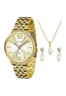 Kit De Relógio Analógico Lince Feminino + Brinco + Colar -Lrgh047L Kt91C2Kx X Dourado