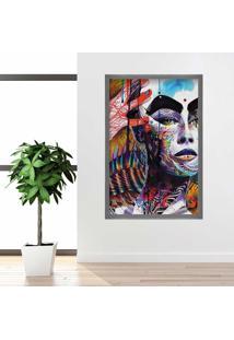 Quadro Love Decor Com Moldura Face Colors Grafitti Metalizado Grande