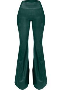 Calça Cintura Alta Outletdri Maxiflare Verde