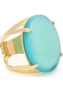 Anel Banhado A Ouro Oval Bonamita - Feminino-Azul Claro