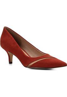 Scarpin Couro Shoestock Salto Baixo Tela - Feminino-Caramelo