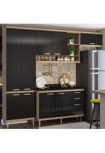 Cozinha Compacta 9 Portas 3 Gavetas Sicília Com Tampo 5841 Preto/Argila - Multimóveis