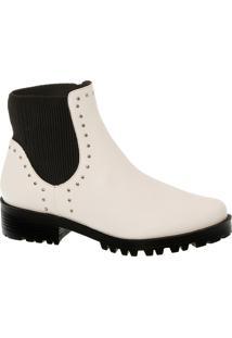 Ankle Boot Branca Com Cravinhos