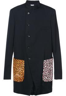 Comme Des Garçons Homme Plus Mandarin Collar Jacket Animal Print Pockets - Preto