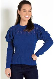 Blusa De Tricô Azul Royal Com Detalhe Vazado