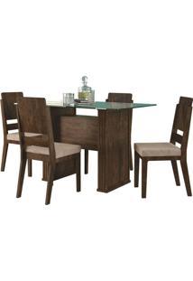 Mesa De Jantar Europa Com 4 Cadeiras Esmeralda Noce Com Pena Caramelo Rv Móveis