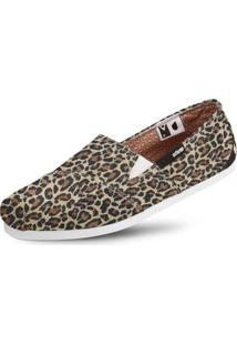 Alpargata Usthemp Slim Vegano Casual Estampa Leopard Marrom