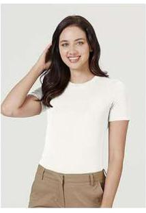 Blusa Básica Feminina Em Malha De Modal E Elastano Off-White