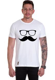 Camiseta Lucas Lunny T Shirt Gola Redonda Oculos Bigode Branca