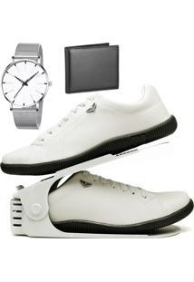 Kit Sapatênis Sapato Casual Com Organizador, Carteira E Relógio Clean Dubuy 920Db Branco - Kanui
