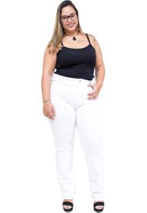 Calça Jeans Uvx Plus Size Reta Erielma Branca - Kanui