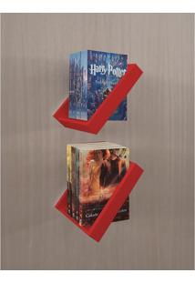 Prateleira Porta Livros Suporte Estante Nicho Decorativo 2 Peças Parede - Vermelho Laca