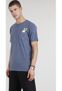Camiseta Masculina Homer Simpson Com Bolso Manga Curta Gola Careca Azul