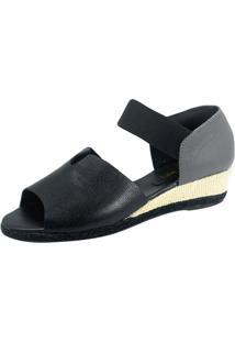 Sandália Anabela S2 Shoes Neli Couro Preto E Cinza