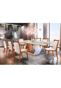 Conjunto De Mesa De Jantar Ane Com 8 Cadeiras Linho Off White