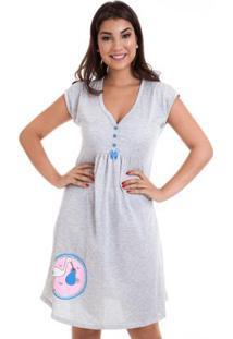 Camisola Gestante Luna Cuore - Feminino-Cinza+Azul