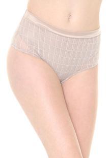 Calcinha Triumph Hot Pant Tule Geométrico Bege