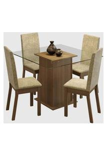 Sala De Jantar Nina Com Tampo De Vidro E 4 Cadeiras Marrom/Bege