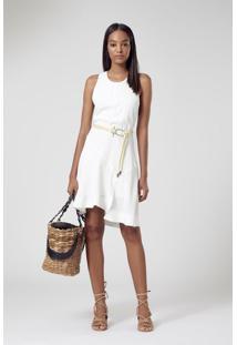 Vestido De Cupro Curto Recortes Branco Pérola - P