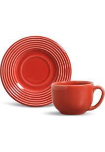 Xícara De Chá Argos Cerâmica 6 Peças Vermelho Porto Brasil