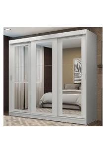 Guarda-Roupa Casal Madesa Kansas 3 Portas De Correr De Espelho 3 Gavetas Branco Cor:Branco