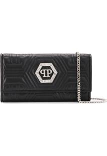Philipp Plein Crystal Clutch Bag - Preto
