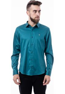Camisa Porto & Co Manga Longa Slim Fit Lisa