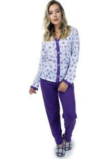 Pijama Mvb Modas Aberto - Feminino-Roxo