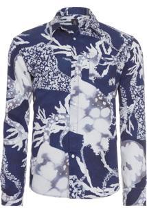 Camisa Masculina Cotton Linen Batik - Azul
