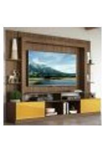 """Rack Estante Com Painel Tv 65"""" E 2 Portas Oslo Multimóveis Madeirado/Amarelo"""