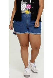 Short Feminino Jeans Bolsos Plus Size Marisa