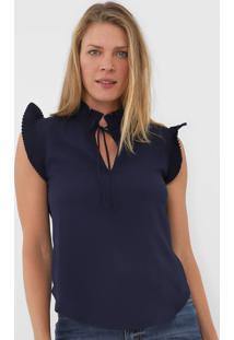 Blusa Maria Filó Plissada Azul-Marinho