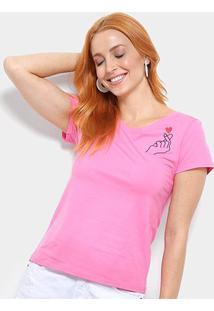 Camiseta Top Moda Bordada Estalo Coração Feminina - Feminino-Pink