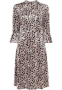 Hvn Vestido Midi Ashley Animal Print - Preto