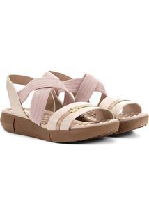 Sandália Modare Elástico Cruzado Feminina - Feminino-Creme