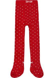 Meia Calça 1Mais1 Com Floquinho - Feminino-Vermelho