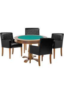 Mesa De Jogos Carteado Victoria Redonda Tampo Reversível Amêndoa Com 4 Cadeiras Liverpool Corino Preto Matelassê - Gran Belo