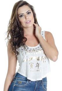 Blusa Regata Estampa Frontal Colcci - Feminino-Branco