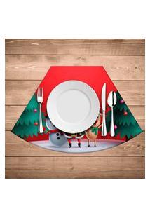 Jogo Americano De Natal Redondo Feliz Natal Kit Com 6 Pçs