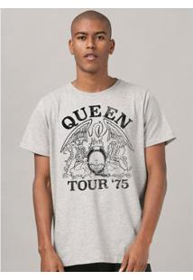 Camiseta Banduup! Queen Tour 75' Masculina - Masculino-Cinza