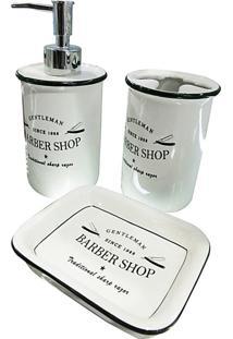 Conjunto Para Banheiro 3 Peças Brancas Barber Shop Urban Home