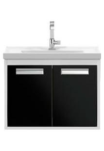Gabinete De Banheiro Cerocha Com Lavatório 51Cm Branco E Preto Rigel