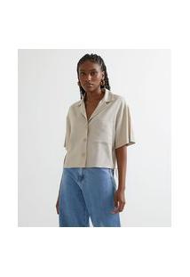 Camisa Manga Curta Em Linho Com Botões E Bolso | Blue Steel | Bege | Pp