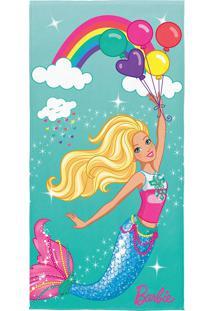 Toalha De Praia Infantil Lepper Barbie Reinos Mágicos Transfer Verde Água