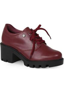 Sapato Oxford Feminino Quiz Tratorado Vinho